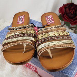 Pop Flat  Sandals in Gold Distress NIB